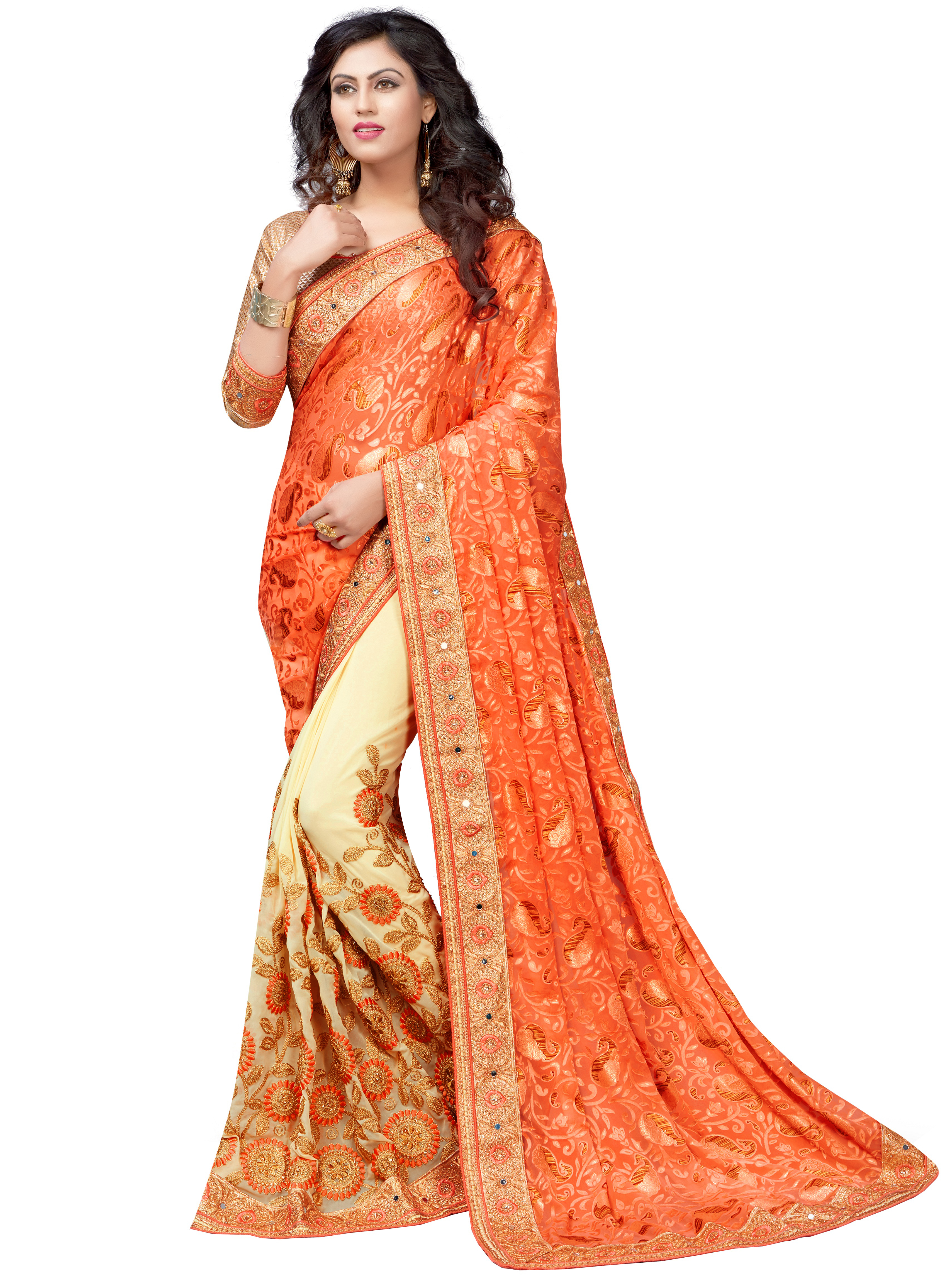 Brasso & Georgette Embroidered Saree collection