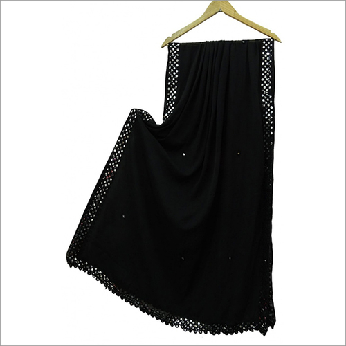 Black Colour Chiffon Four Side Mirror Dupatta