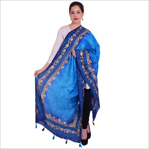 Blue Silk Dupatta