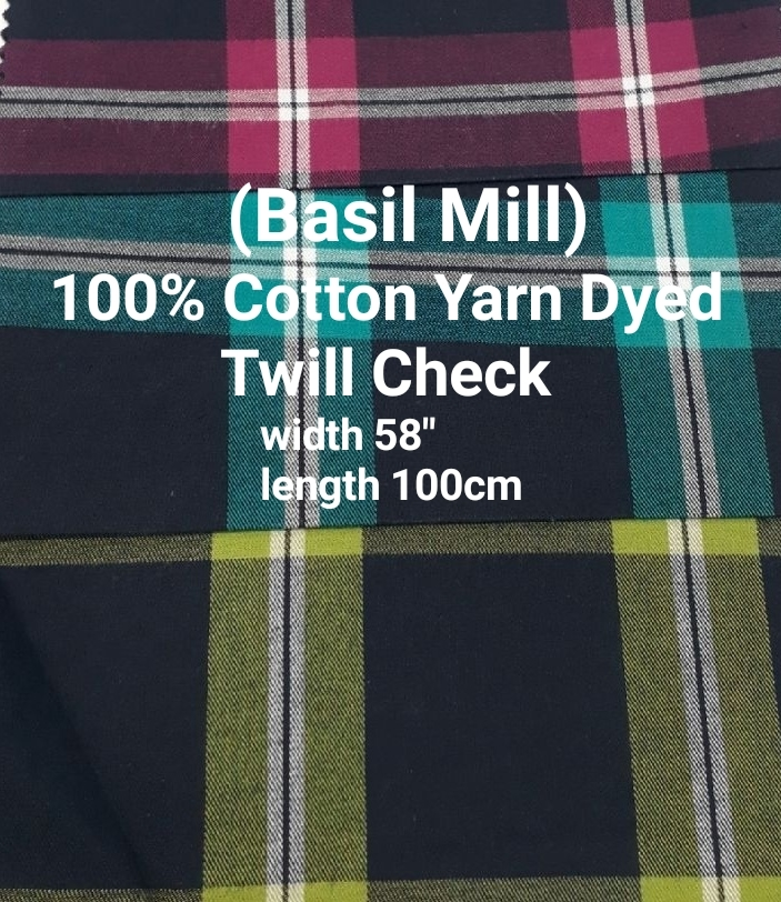 Basil Mill 100% cotton yarn dyed twill check