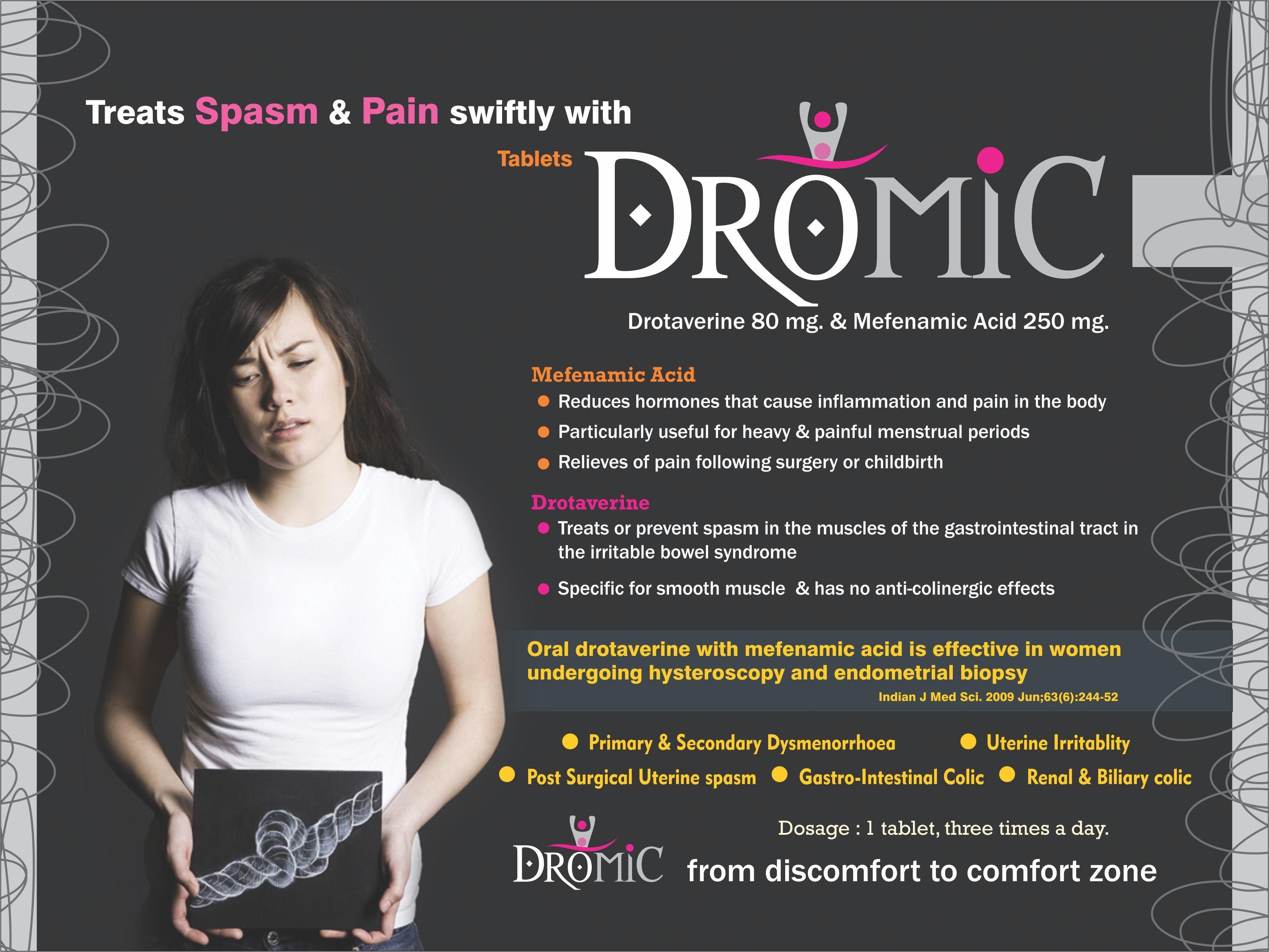 Drotaverine 80 mg & Mefenamic Acid 250 mg Tablets