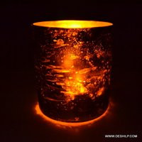 Decorated Glass Candle Holder