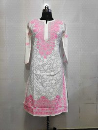 Cotton Kota Aari Work Long Kurti