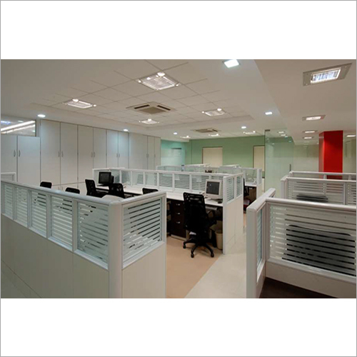 Wooden And Glass Workstation Partition