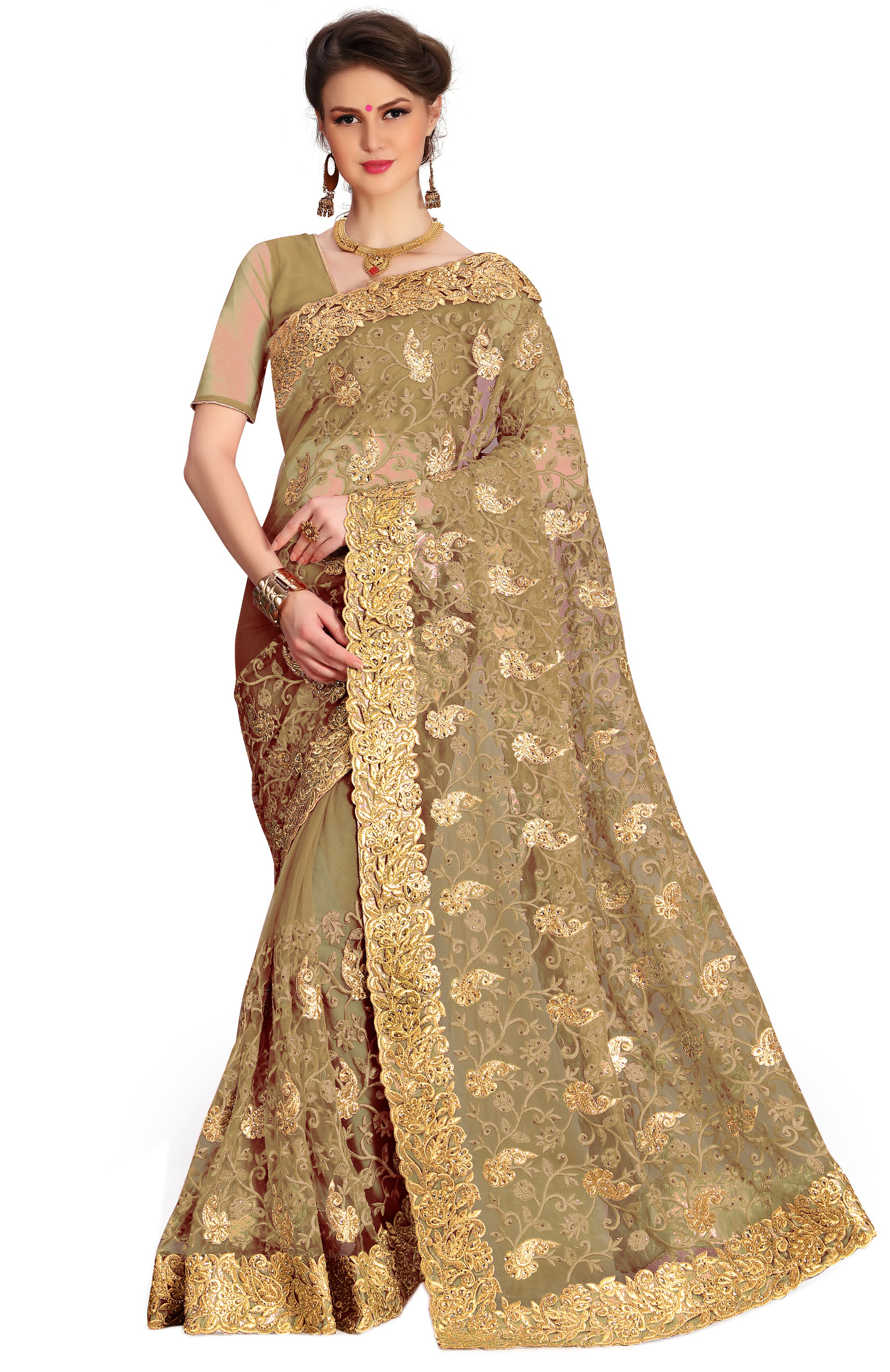 Peacock design Embroidered bordered net  Saree