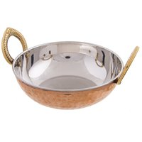 Copper Steel Kadai With Brass Handle