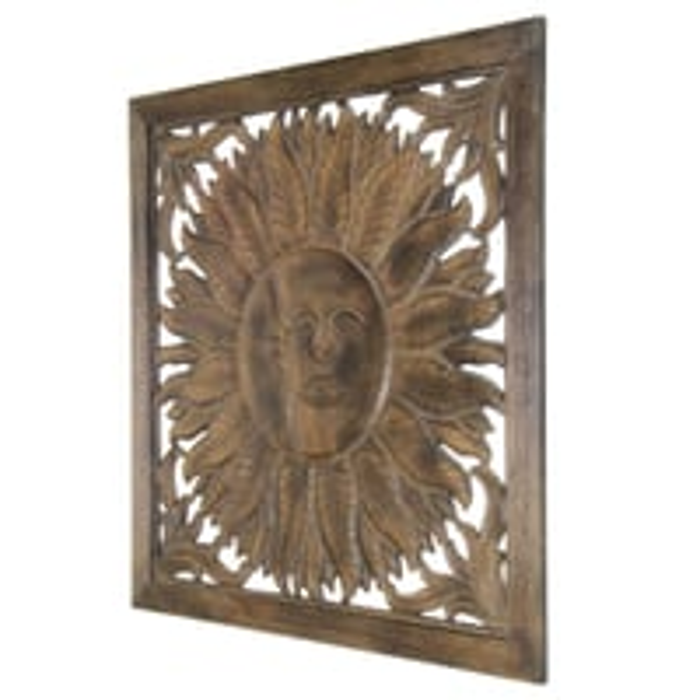 Antique Sun Design Wooden Wall Panel