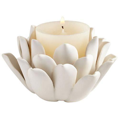 White Votive Dahlia Candle Holder