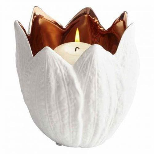 Antique Medium White Enamored Evolution Votive
