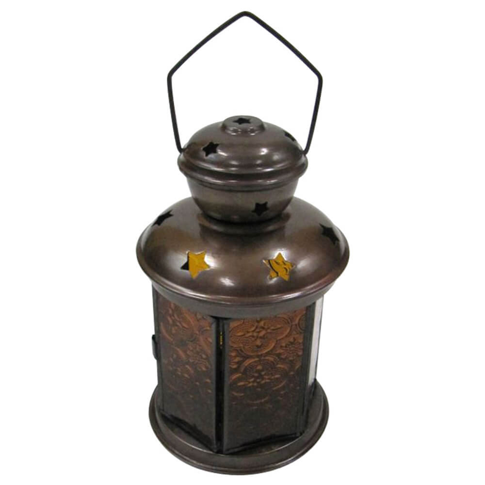 6 Sided Candle Lantern Yellow