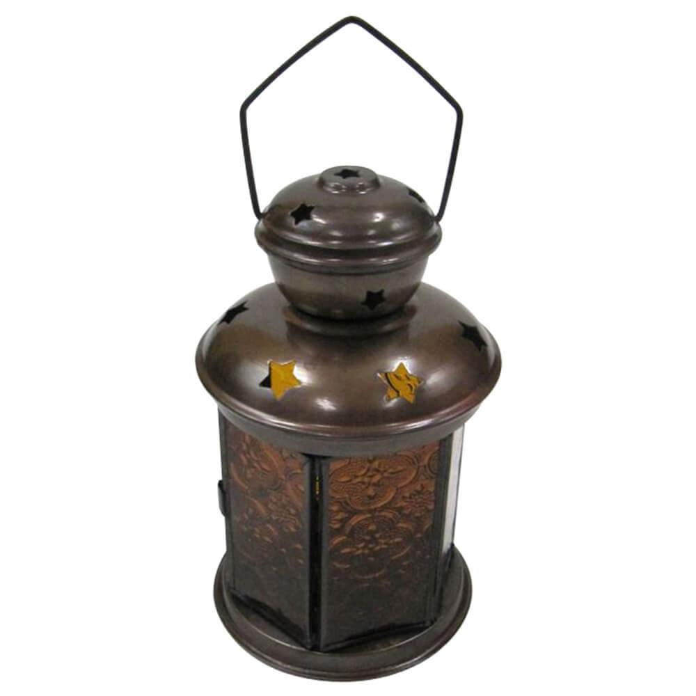Antique Iron 6 Sided Candle Lantern Yellow