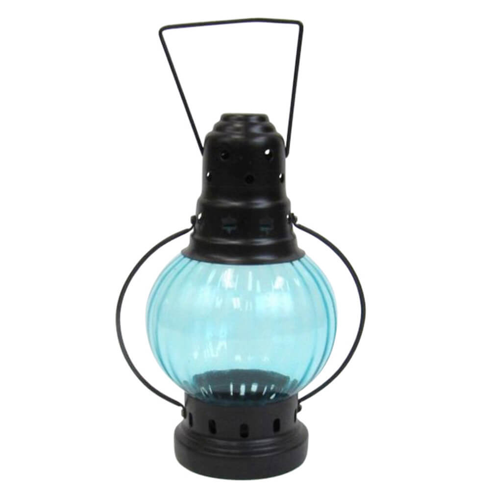 Round Iron Candle Lantern with Color Glass
