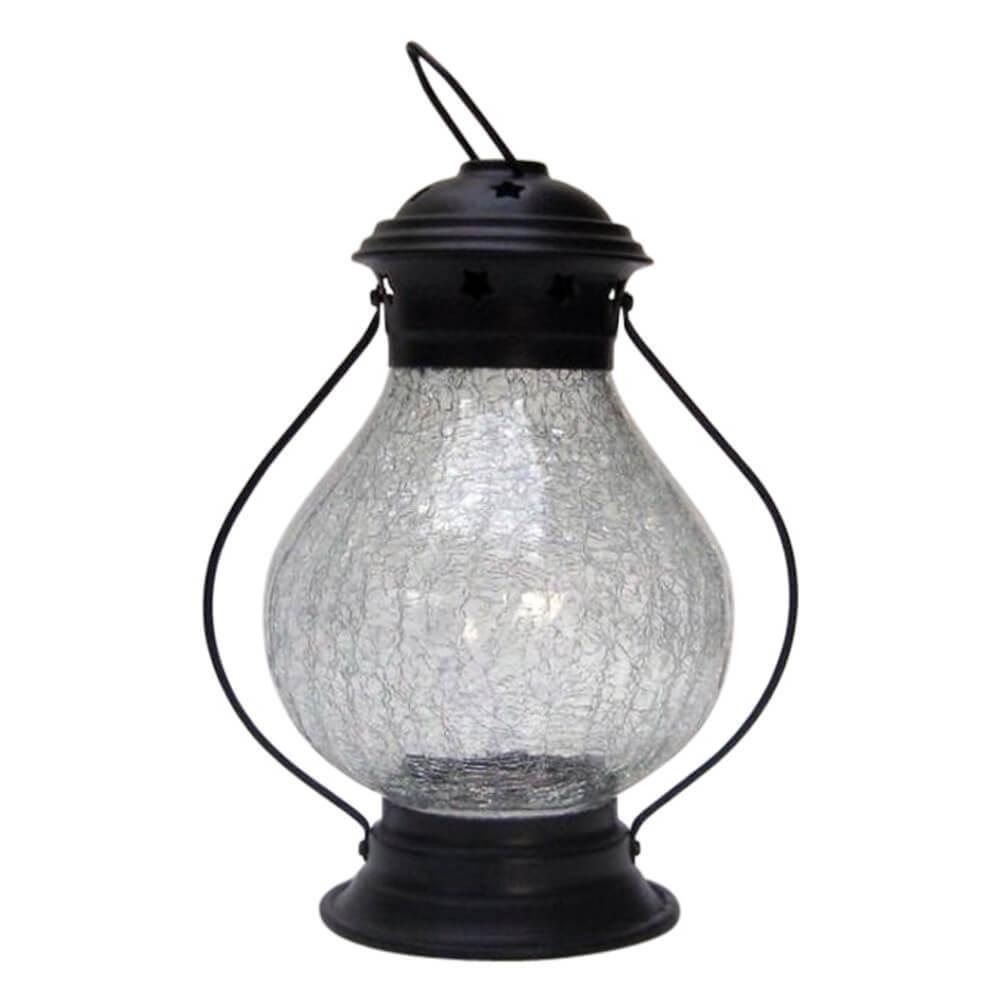 Antique Candle Lantern Iron Crackle Glass
