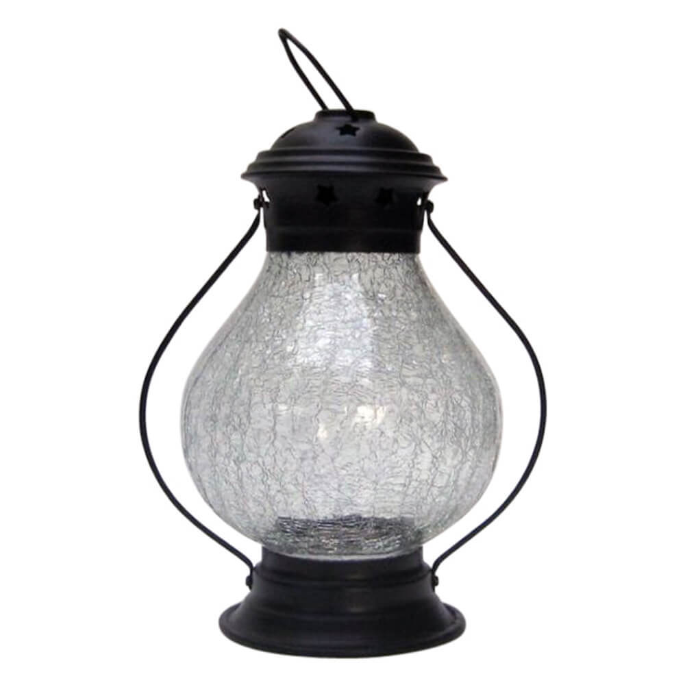 Candle Lantern Iron Crackle Glass
