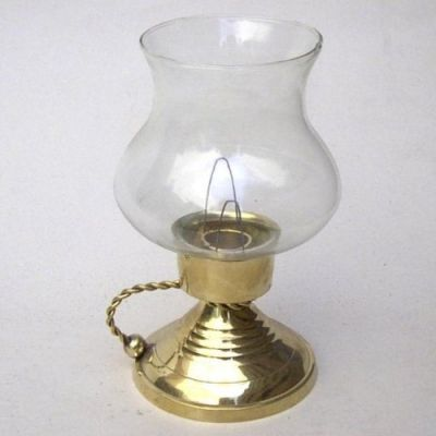 Antique Brass Candle Holder With Glass Chimney