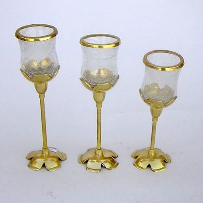 Candle Holder Set Of Three Tulip