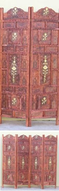 Carved Wooden Screen With Brass Flower
