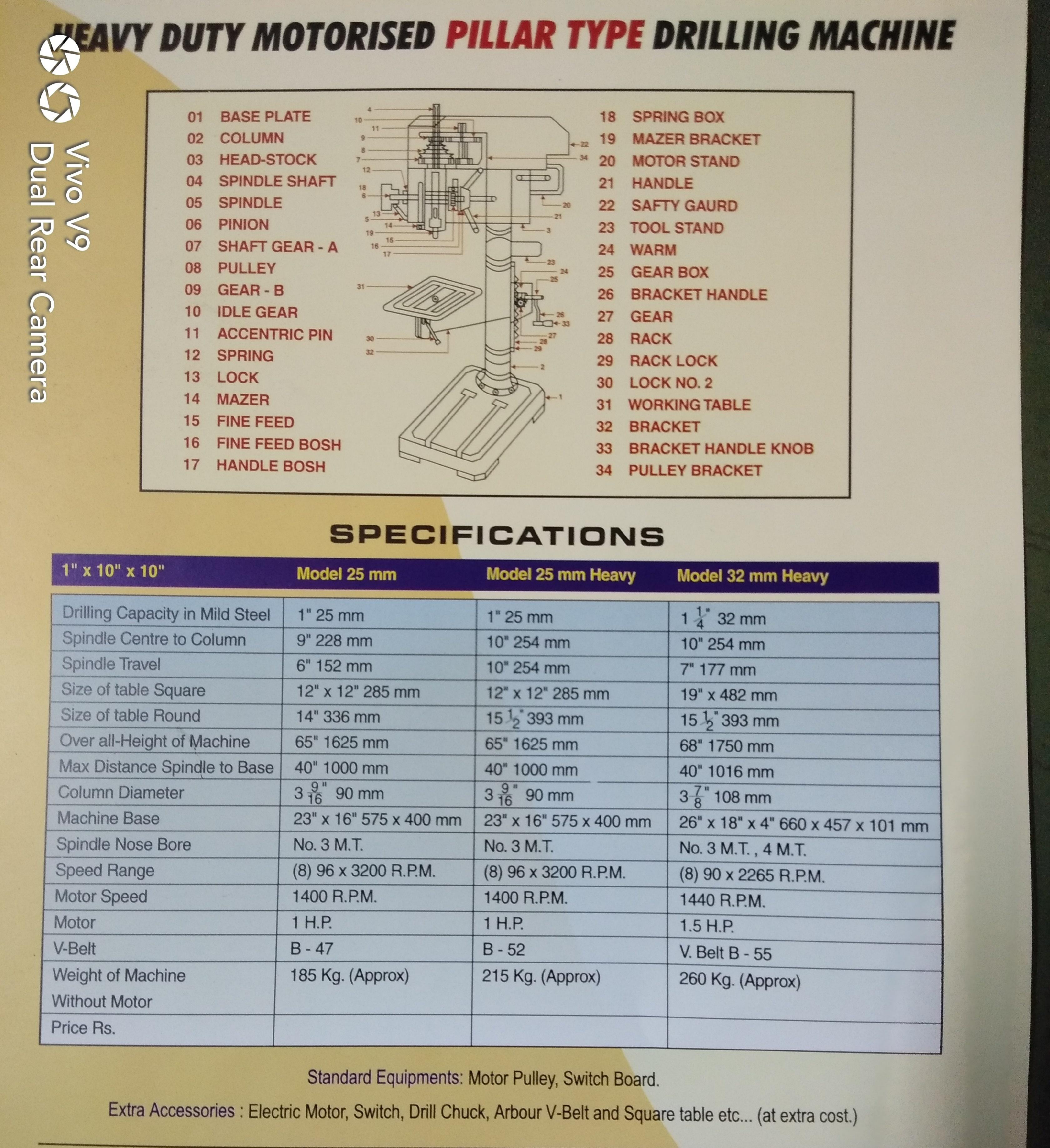 25mm Heavy Duty Pillar Drilling Machine With Fine Feed