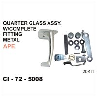Ape Quarter Glass Assy W/Complete Fitting Metal
