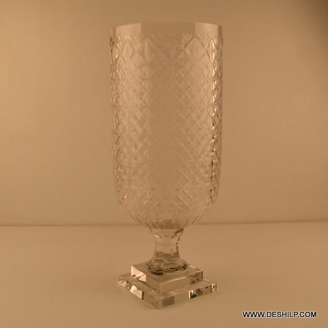 Attractive Shape & Cut Work Glass Hurricane