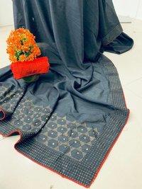 Designer Silver Zari Banarasi Silk Saree