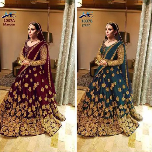 Heavy Embroidered Bridal Lehenga, Silk Lehenga with Stone Work