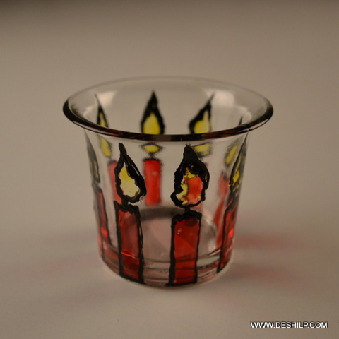 Decorated Glass T-Light Candle Holder