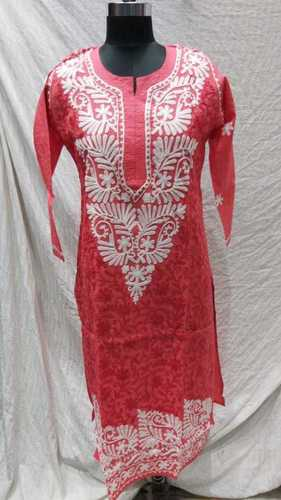 Ladies Cotton Jaal Embroidery Kurti