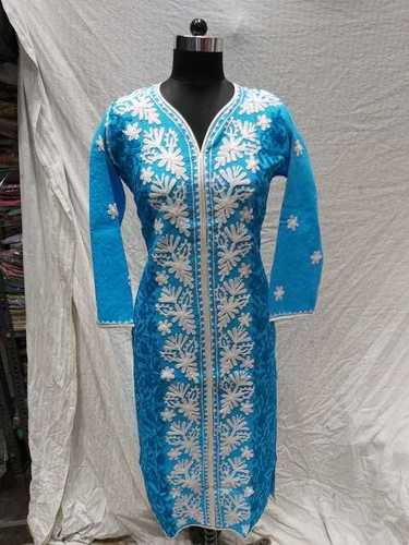 Ladies Cotton Makhmali Embroidery Kurti