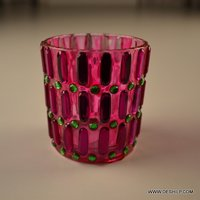 Pink Glass Decor T Light Candle Holder