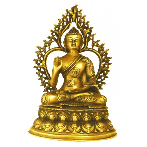 Brass Lord Buddha With Border Statue
