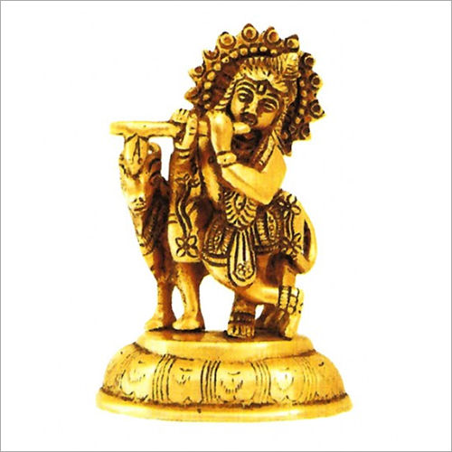Brass Golden Lord Krishna Statue