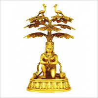 Brass Lord Sitting Hanuman Statue