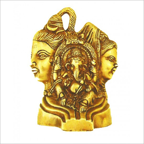 Brass Shiv Parvati With Ganesh Statue
