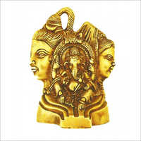 Brass Shiva Parvati With Ganesh Statue