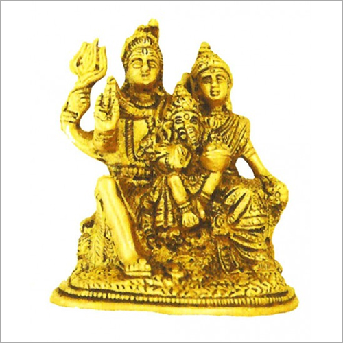 Brass Golden Shiva Parvati With Ganesh Statue