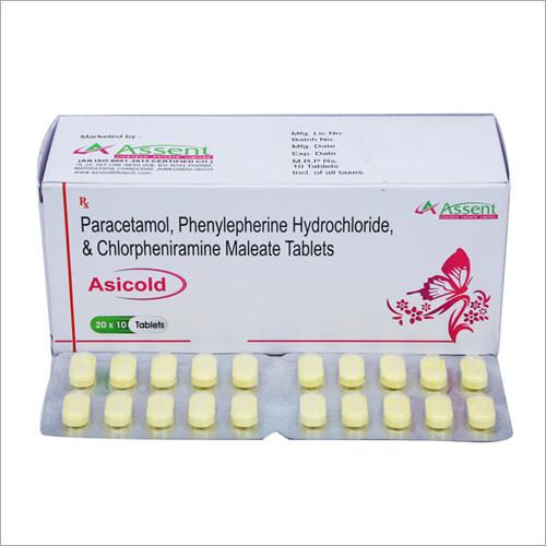 Paracetamol Phenylepherine Hydrochloride And Chlorpheniramine Maleate Tablets