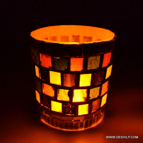 Mosaic Glass T Light Votive Candle
