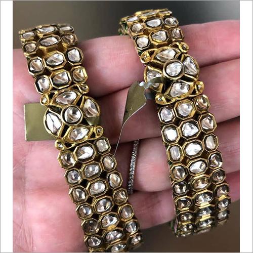 Ladies Gold With White Kundan Bangles