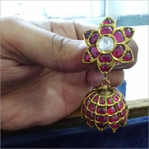 Ladies Stone Studded Gold Earrings