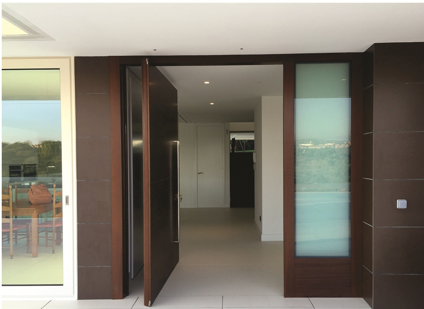 Wooden Veneer Swing Door Entrance