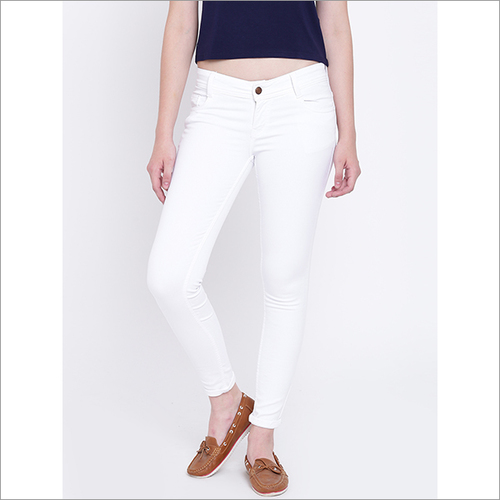 Ladies Plain White Jeans