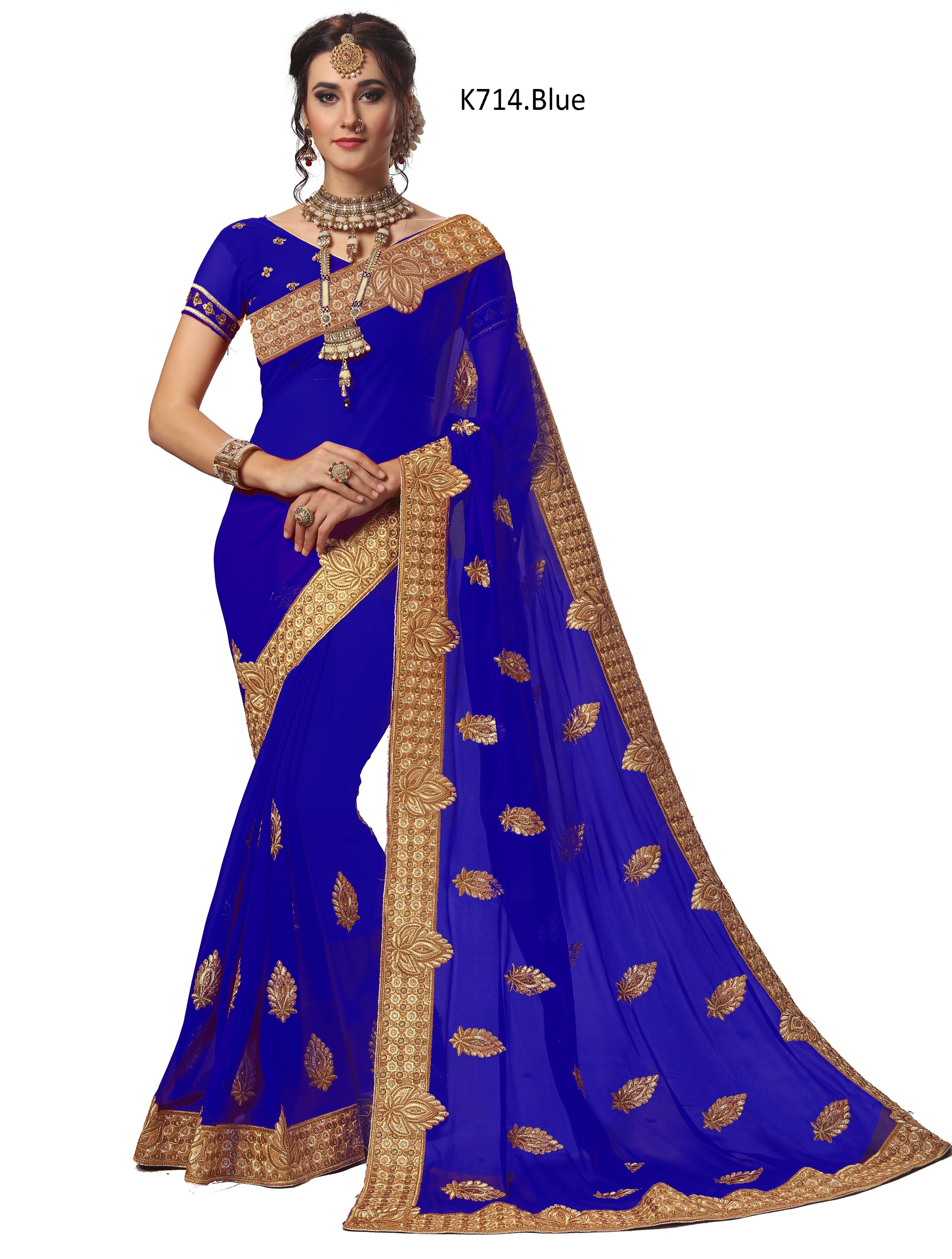 geometric embroidered Georgette saree collection