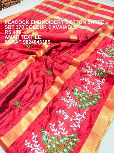 Peacock Embroidery Cotton Saree