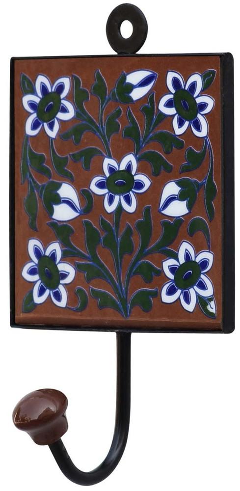 Square Ceramic Wall Hook Multicolored Floral Design