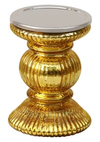 Handmade Golden Pillar Candle Stand In Ribbed Glass