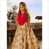 Kids Embroidered Banarasi Silk Gown