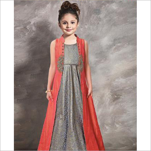 Kids Long Mastani Silk Gown