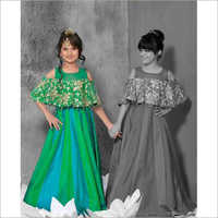 Kids Off Shoulder Silk Gown