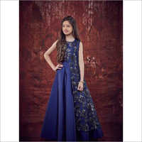 Kids Blue Long Soft Taffeta Ribbon Gown